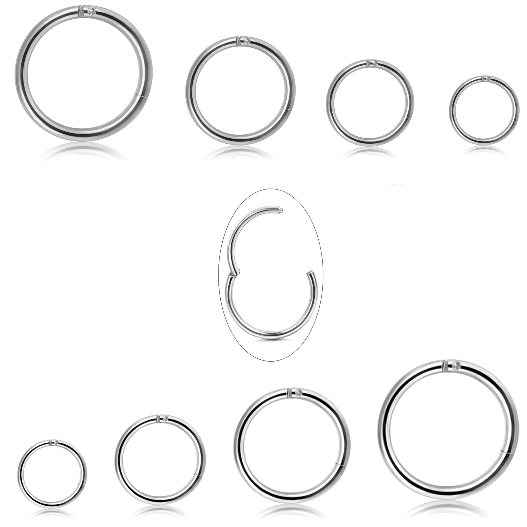 Jstyle 8Pcs 16G Surgical Steel Hinged Clicker Segment Nose Rings Hoop Helix Cartilage Daith Tragus Sleeper Earrings Body Piercing 6-12MM Improved by Jstyle