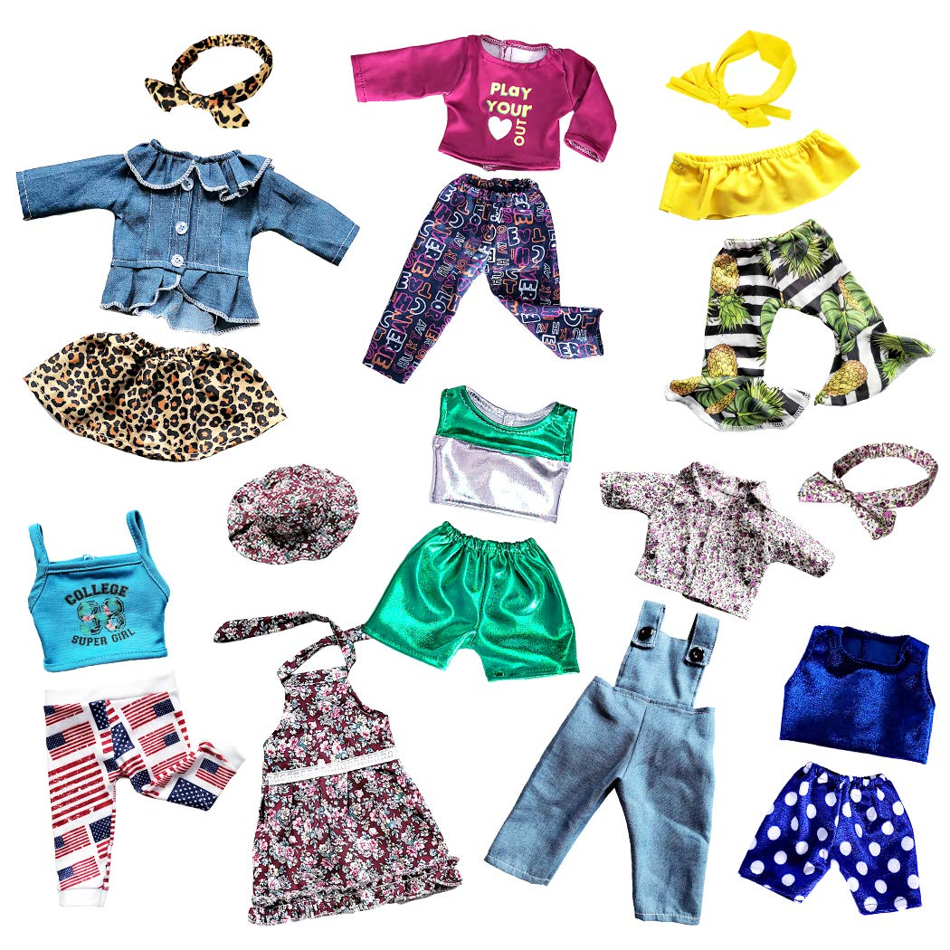 American Doll Clothes fit American 18 Girl Dolls 19 pcs 18 inch Doll Accessories Including 8 Complete Sets of Clothing Outfits with Hair Bands and Cap