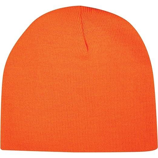 Neon Hunter Orange Blaze Knit Beanie Stocking Cap Winter Hat Mens Womens  Unisex 9a02d1586fa