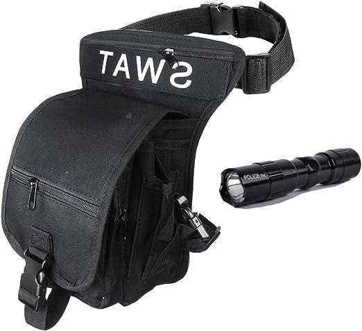QMFIVE Waterproof Sac de Jambe Drop Leg Panel en Toile Sacs Banane pour Homme pour Airsoft Tactical Randonn/ée V/élo Sport en Plein Air