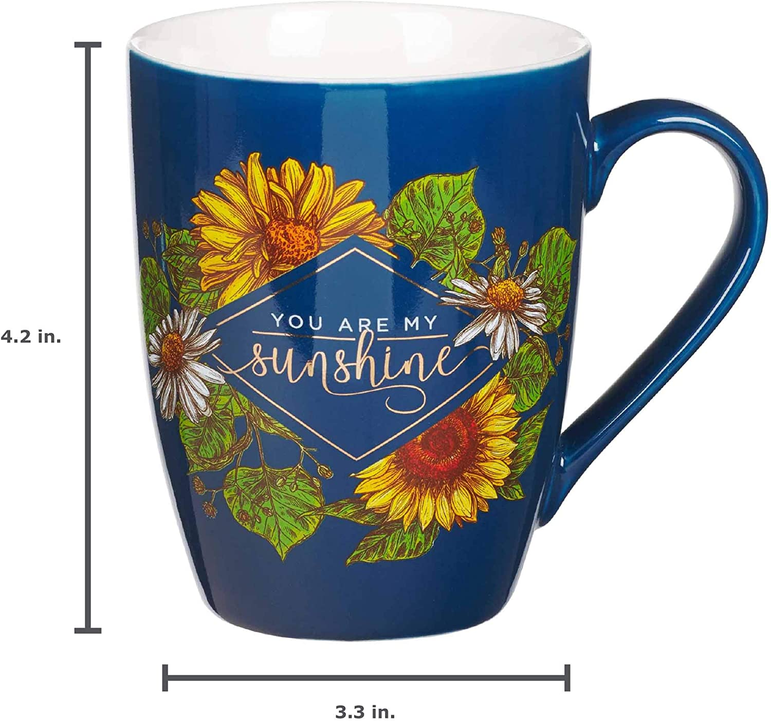Amazon Com You Are My Sunshine Inspirational Coffee Mug For Women 12 Ounce Navy Blue Ceramic Cup For Coffee Tea Kitchen Dining