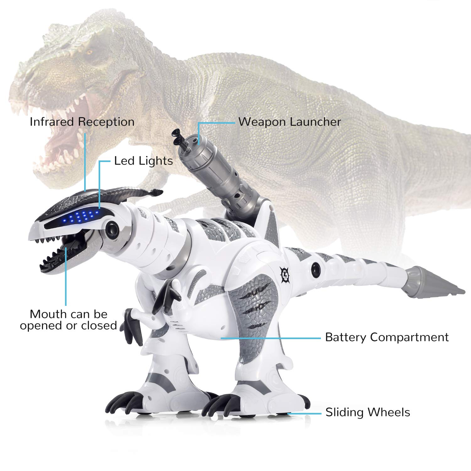 SGILE RC Dinosaur Robot Toy, Smart Programmable Interactive Walk Sing Dance for Kids Gift Present by SGILE (Image #5)