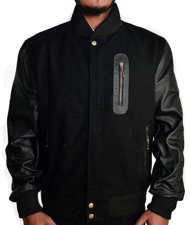 cd016c348387cc Michael B Jordan Kobe Destroyer XXIV Battle Mens Black Faux Leather Sleeves  Wool Jacket at Amazon Men s Clothing store