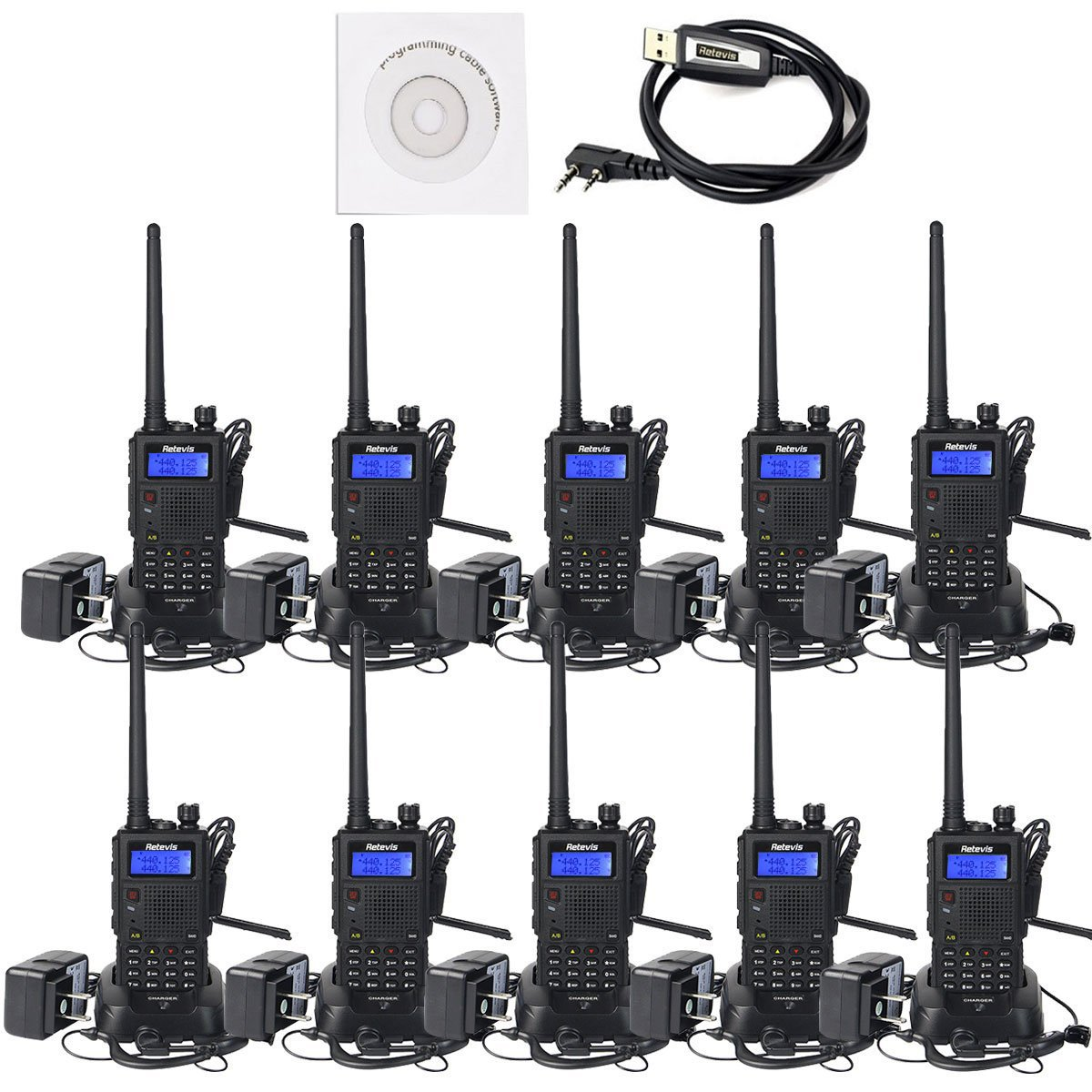 Retevis RT5 Dual Band Two-Way Radio Transceiver 7W UHF VHF 136-174/400-520MHz 128 CH VOX DTMF FM Radio 1750Hz Walkie Talkies (10 Pack,Black)