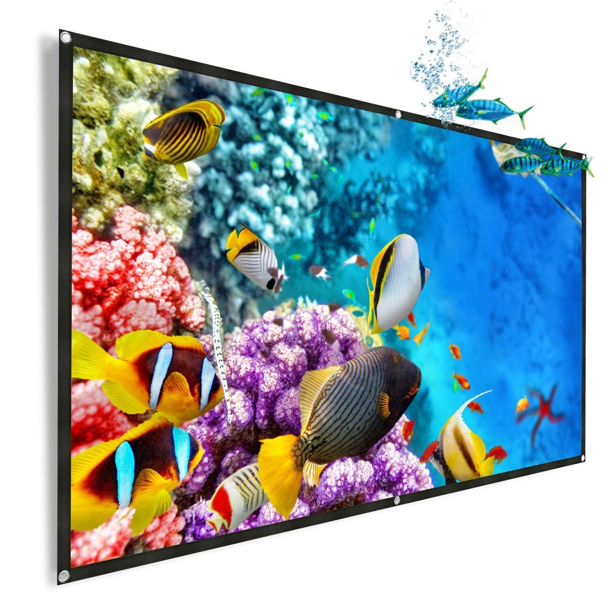 120-Inch Projector Screen, Thustar Outdoor Portable Projector Screen PVC Fabric 16:9 Suitable for HDTV, Sports, Movies and Presentations by General