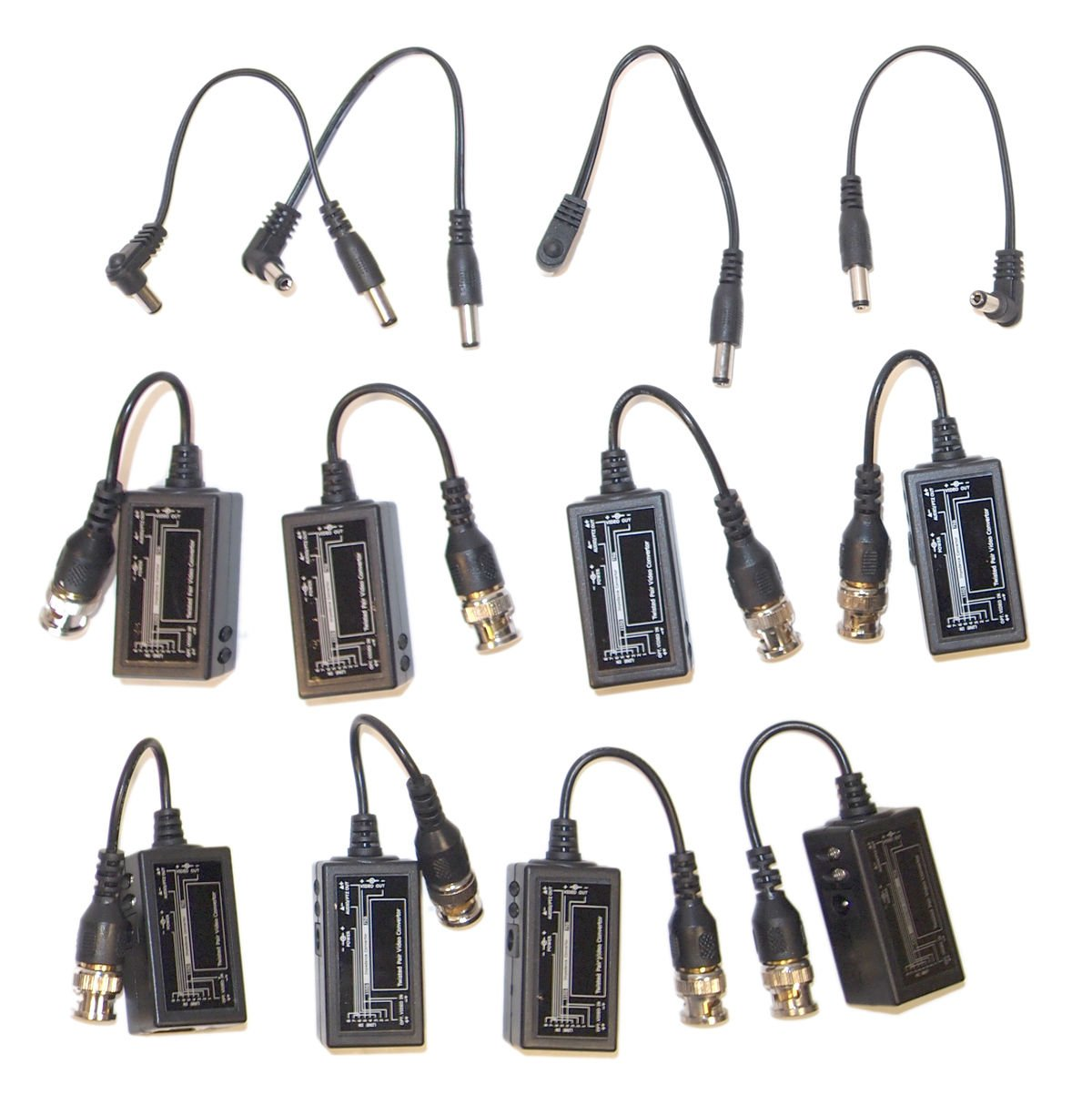 Evertech 4 Pairs (8 pcs) BNC to RJ45 Video Balun CCTV PTZ Camera with Power Connector by Evertech