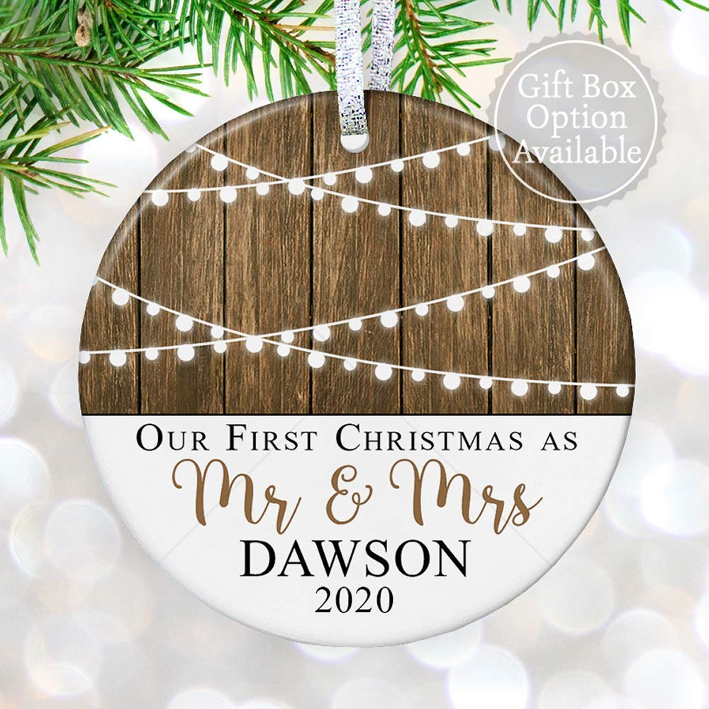 Personalized Wedding Ornament with Name Wedding Gift First Christmas Ornament Married Wedding Gift for Couple New Mr /& Mrs Gift