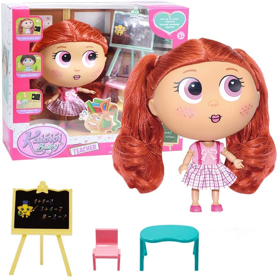 Grenf Kaibibi Doll, Babies Play Teacher Toy Set Baby Enlightenment Toy Dolls Including Teacher Dolls, Blackboard, Table and Stool Suitable for Infants Over 3 Years Old to Play…