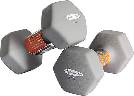 par Active Forever Mancuernas hexagonales Mancuernas Antideslizantes Impermeables de Neopreno 2 /× 1 kg 2 kg 3 kg 4 kg 5 kg 6 kg 8 kg 10 kg