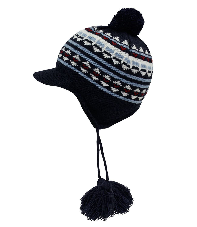 EveryHead Fiebig Baby Beanie Boy Cap Tie Hat Peaked Knit Pompom Winter Fleece Lining (FI-74254-W16-BJ0) incl Hutfibel