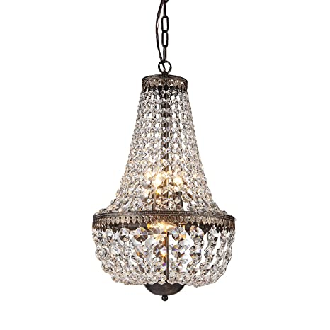 6-Light Antique Bronze Crystal Chandelier Pendant Ceiling Fixture - 6-Light Antique Bronze Crystal Chandelier Pendant Ceiling Fixture
