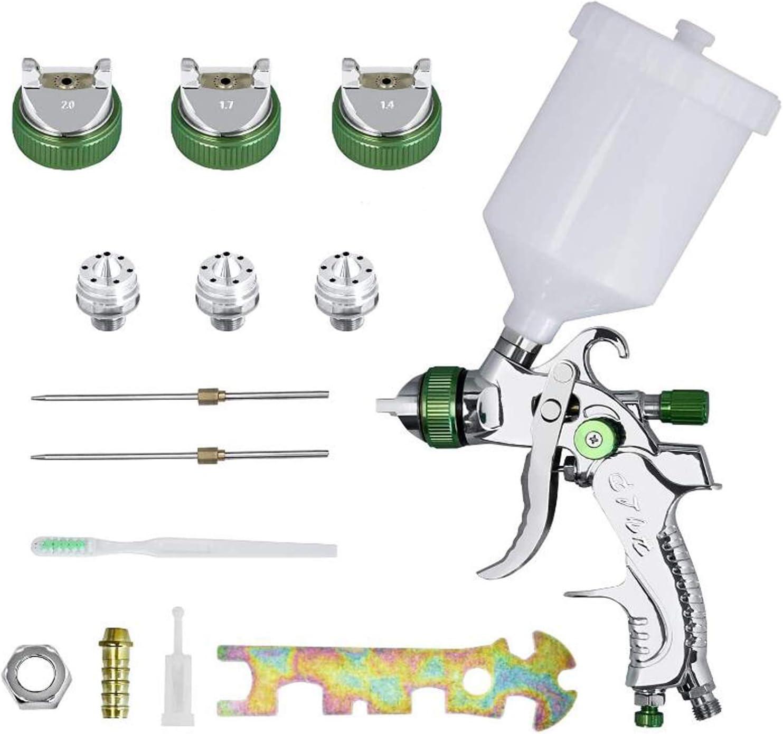 HENGMEI Sistema de pulverizaci/ón de pintura para pared 2,0 mm para pintura y barniz pistola de pintura con vaso de pl/ástico de 600 ml y 3 boquillas de acero inoxidable de 1,4 mm 1,7 mm