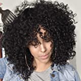 AISI QUEENS Black Short Kinky Curly Wig Synthetic Afro Full Wigs with Bangs for Black Women Heat Resistant Hair for African Women