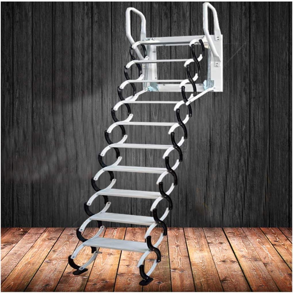Escalera de escalera de pared de ático de metal de acero de alta resistencia, escalera de ático, escalera plegable gruesa, diseño nuevo de fábrica, 1-4 m (Acero,H/1.7M): Amazon.es: Bricolaje y herramientas