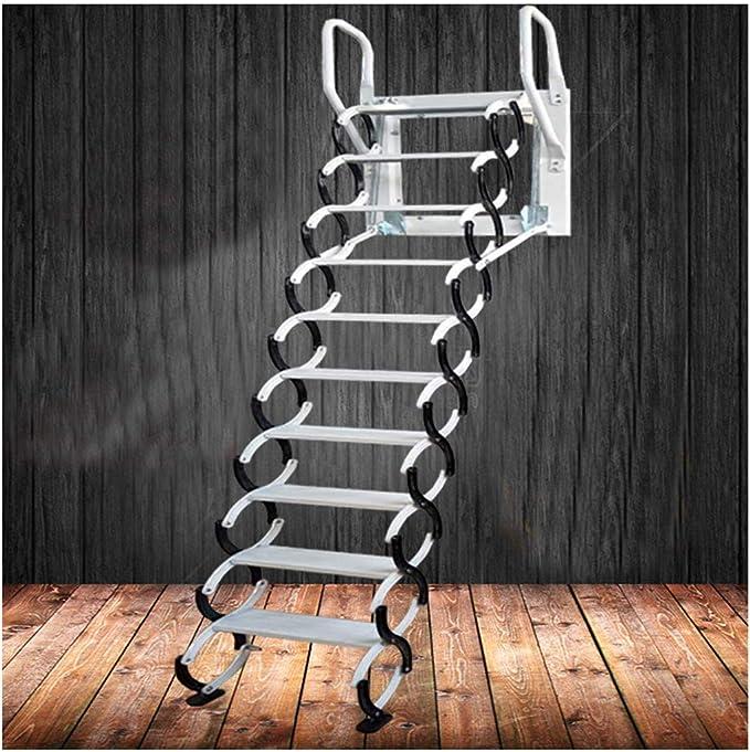 Escalera de pared de acero resistente y metal, escalera de pared para el ático del hogar, plegable, gruesa, diseño de fábrica: Amazon.es: Bricolaje y herramientas
