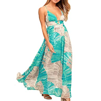 LONGTOU Women Boho Vintage Printed Halter Maxi Dress Sleeveless Casual Beach Bohemian Dress