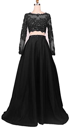Chelsa Bridal Two Pieces Long Sleeves Prom Dresses Beads Evening Gowns CR002 - Black - 28