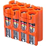 Storacell by Powerpax AAA Battery Caddy, Orange, Holds 8 Batteries