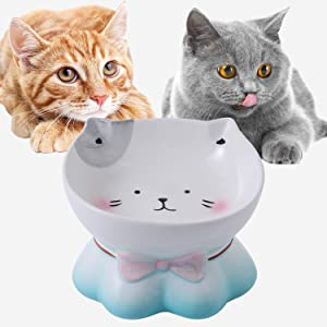 Cat Food Bowl - Feeding Bowls,Elevated Tilted Cat Bowl Protect Cat's Spine, Anti Vomiting, Raised Cat Dishes for Food and Water, Ceramic Feeder Dishes for Cats or Puppys,Microwave Oven Heating