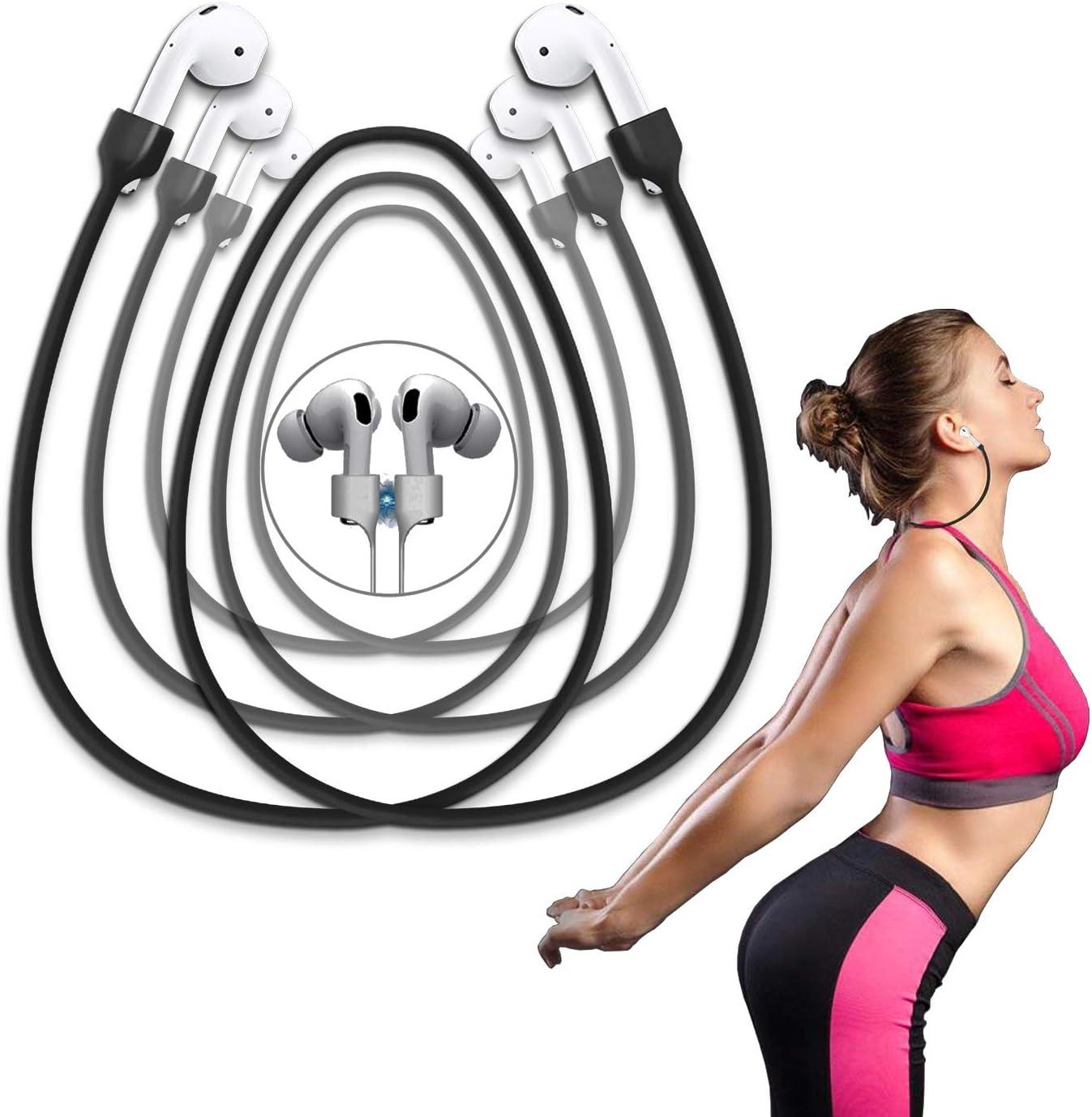 negro Correas magn/éticas antip/érdida para AirPods PRO//2//1 cord/ón para el cuello cord/ón deportivo de silicona suave