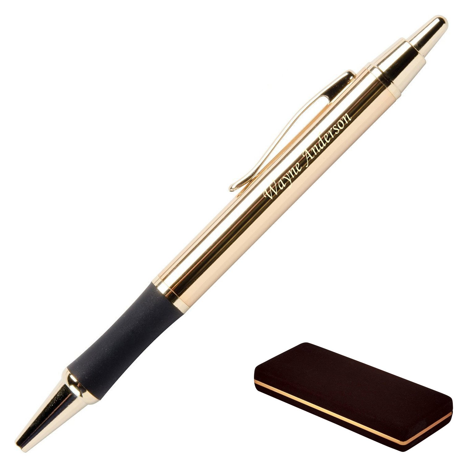 Dayspring Pens - Personalized Monroe 18 Karat Gold Plated Gift Click Pen and Case - Custom engraved fast with your name.