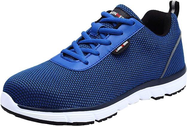 Imagen deLARNMERN Zapatos de Seguridad para Hombre con Puntera de Acero Zapatillas, Ligeros y Transpirables Zapatos de Entrenamiento prevención de pinchazos