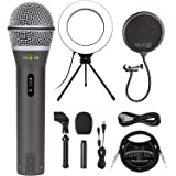 "Samson Q2U Dynamic Microphone for Windows, Mac, and iOS Devices Bundle with Blucoil Pop Filter Windscreen, 6"" Dimmable Selfie"