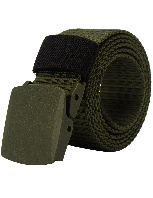 PARVENZA Men's Canvas Nylon Military Tactical Web Duty Belt with No Metal Black PVZ0612B