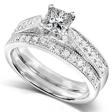 Amazon Com 4 5 Carat Tw Princess Diamond Wedding Ring Set In 14k