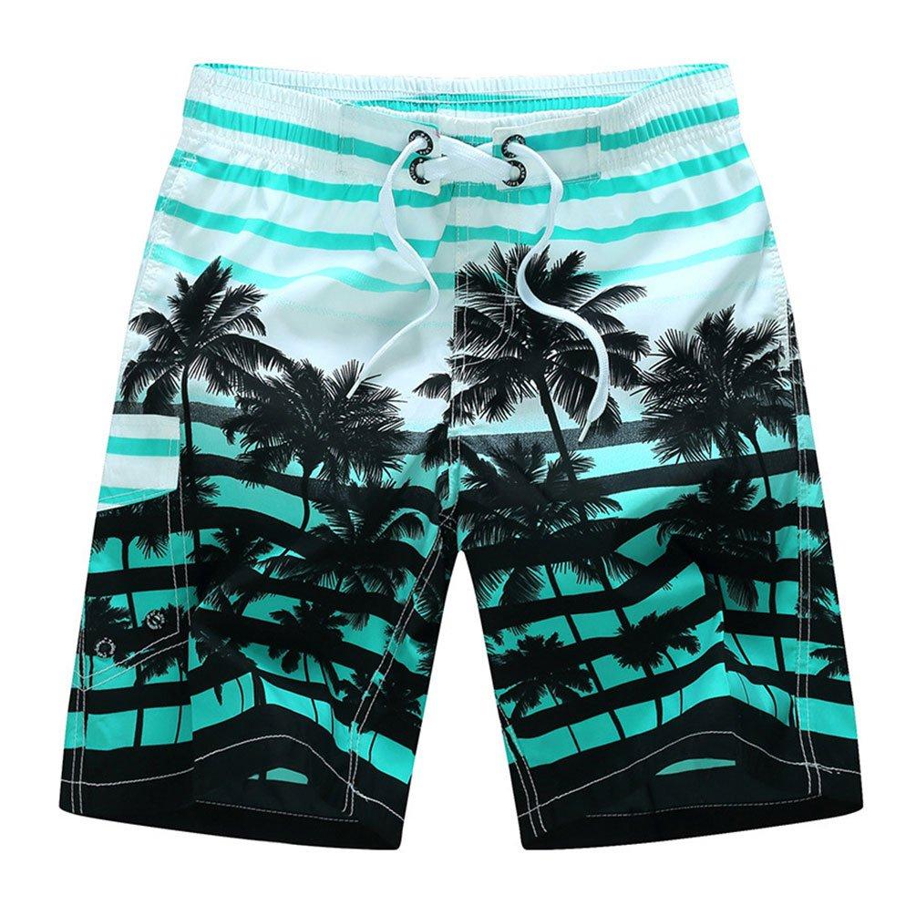 Garne T Men's Coconut Tree Beach Shorts Casual Beachwear Quick Dry Board Shorts Swim Trunks