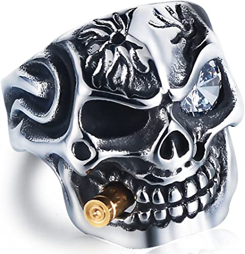 DALARAN Cigar Skull Ring for Men Gothic Band Red//Clear Eye Jewelry Gift