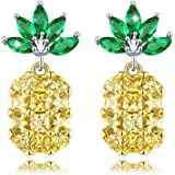 ANCREU Creative Design Women Tropical Pineapple Earrings CZ Gold Plated Stud Earring For Girls
