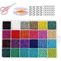 Hanbee Cuentas de Colores para Los niños 24000 Piezas,2mm Mini Cuentas y Abalorios Cristal para DIY Pulseras Collares…