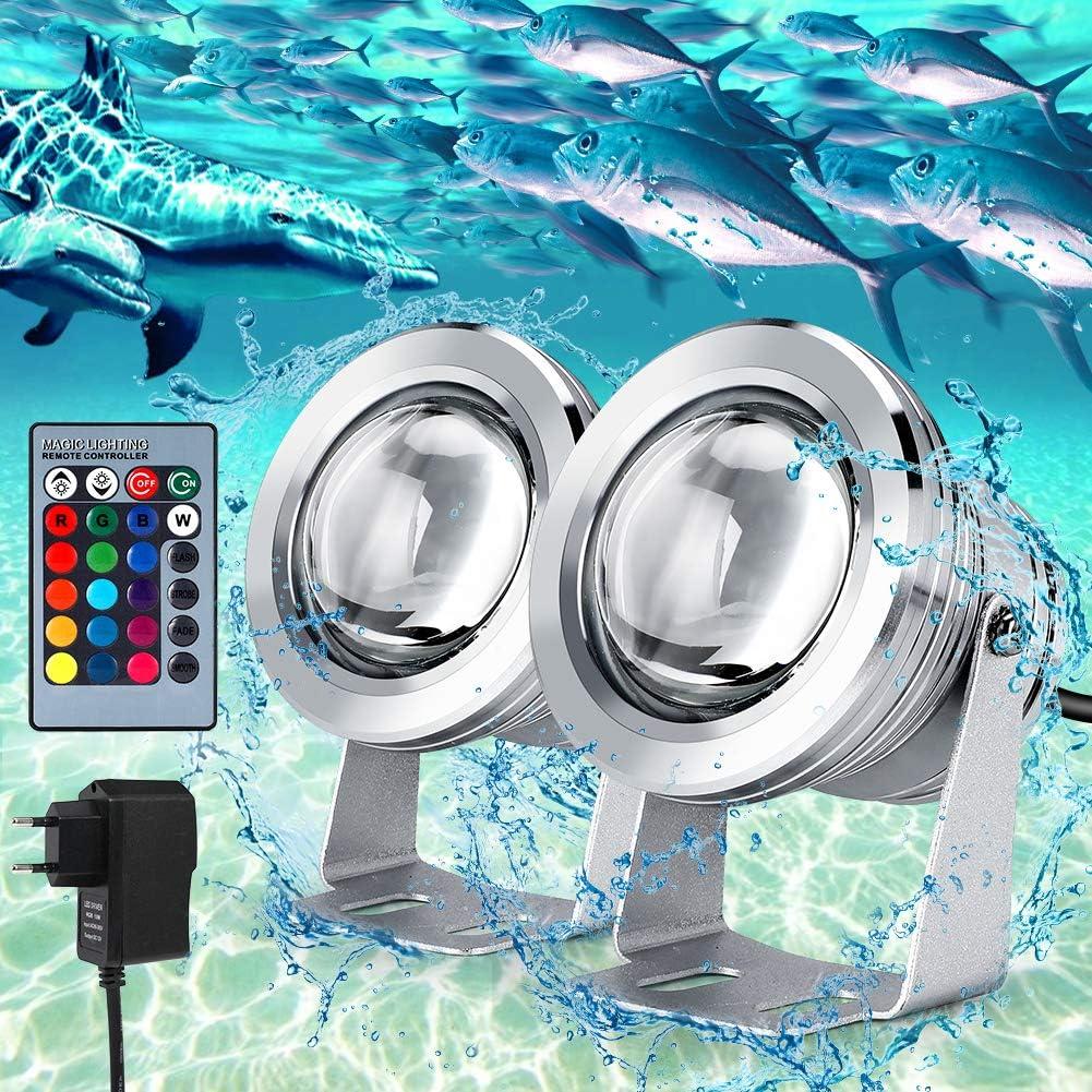 Lámpara Subacuática 2 Pcs LED Luz Subacuática con Control Remoto IP68 Impermeable Cable de 2 metros llevó la Luz Subacuática Flood 12V 10W Para Paisaje fuente del estanque de la piscina de iluminación