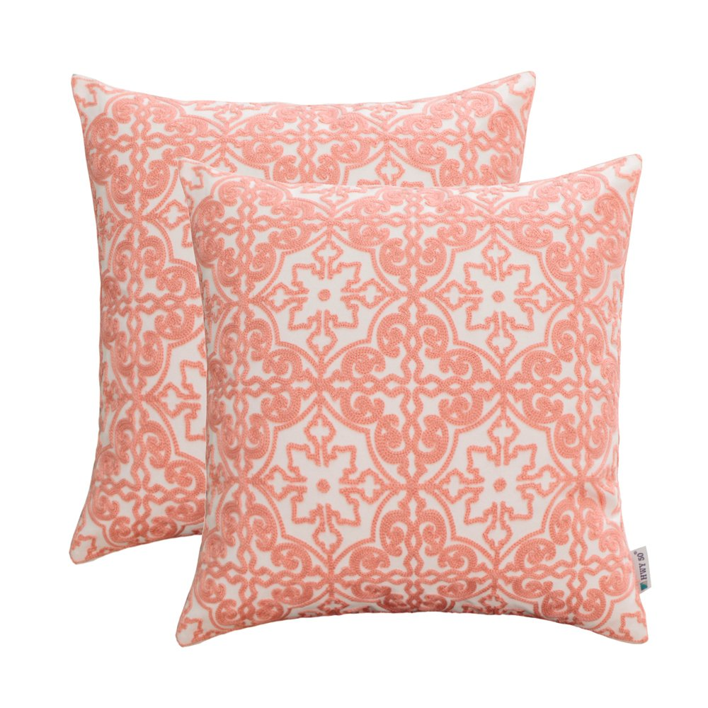 HWY 50 Cotton Embroidered Decorative Throw Pillow Covers Sets Cushion Cases for Couch Sofa Bed Living Room Coral Pink Euro Pretty Modern Elegant Floral Geometric 18 x 18 inch Pack of 2