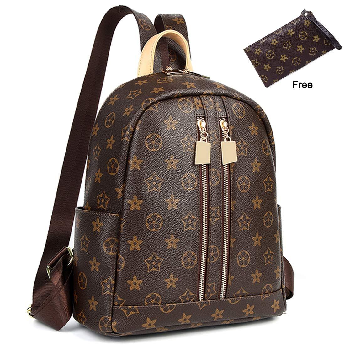 ZUNIYAMAMA Casual Purse Fashion School Leather Backpack Crossbady Shoulder Bag Mini Backpack for Women & Teenage Girls brown waterproof Handbag