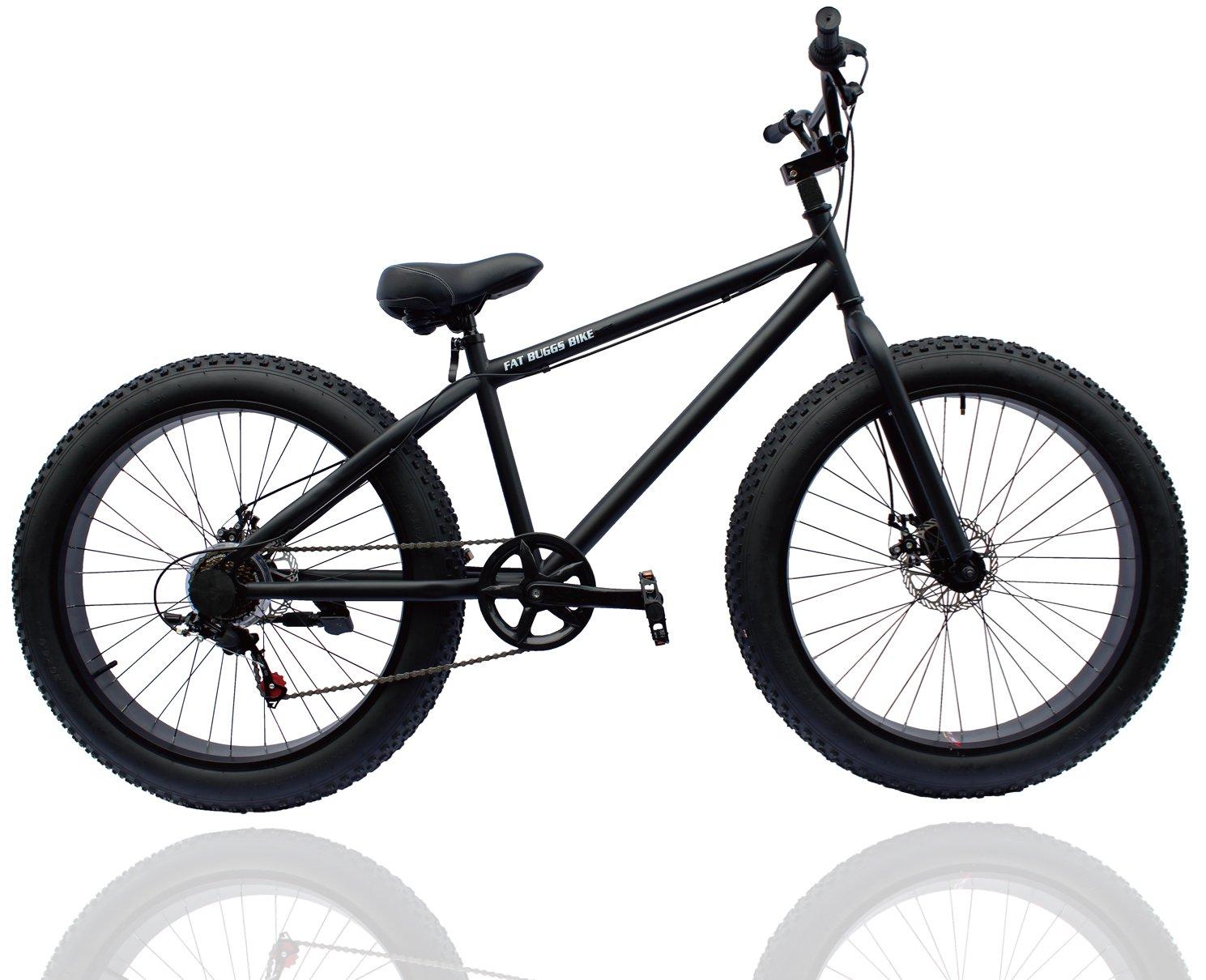 ファットバイク FAT BIKE 26インチ 7段変速ギア付き 自転車 B01KHMP3E8 マットブラック マットブラック