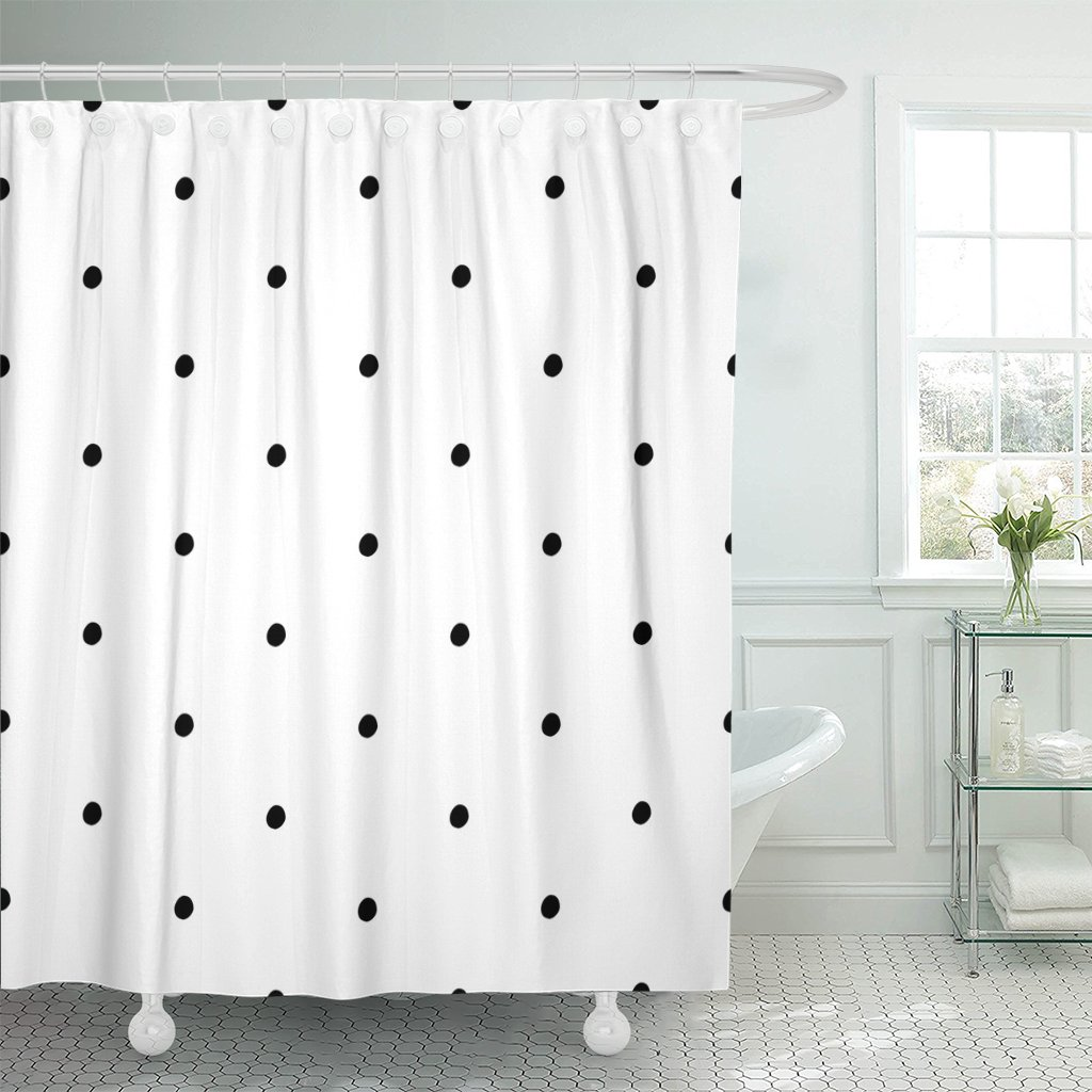 Emvency Shower Curtain Small Abstract Polka Dot Pattern with Trendy Cute Black and White Monochrome Bubble Child Waterproof Polyester Fabric 72 x 72 inches Set with Hooks