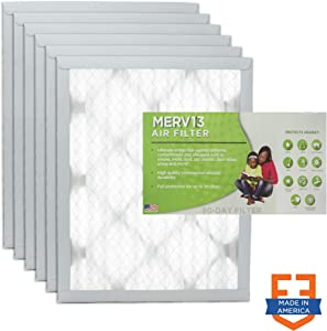"Filters Fast 20x22x1 Pleated Air Filter (6 Pack), Merv 13 | 1"" AC Furnace Air Filters, Made in the USA 