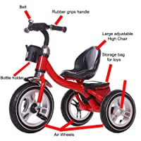 Little Bambino RideOn Pedal Tricycle Children Kids Smart Design 3 Wheeler   Red   CE Approved Air Wheels Adjustable Seat Metal Frame Bell