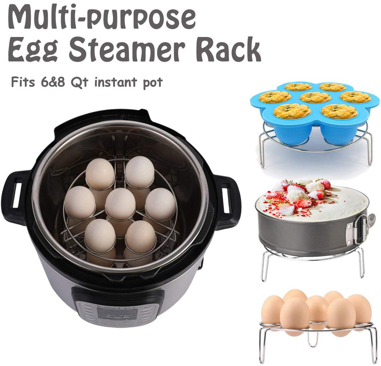 AMEON Accessories for Instant Pot 6, 8 Quart - Steamer Basket, Egg Rack, Springform Pan, Egg Bites Mold, Egg Beater, Pot Mitts, Silicone Mat and Food Tong for Insta Pot, Pressure Cooker, Rice Cooker by AMEON (Image #6)