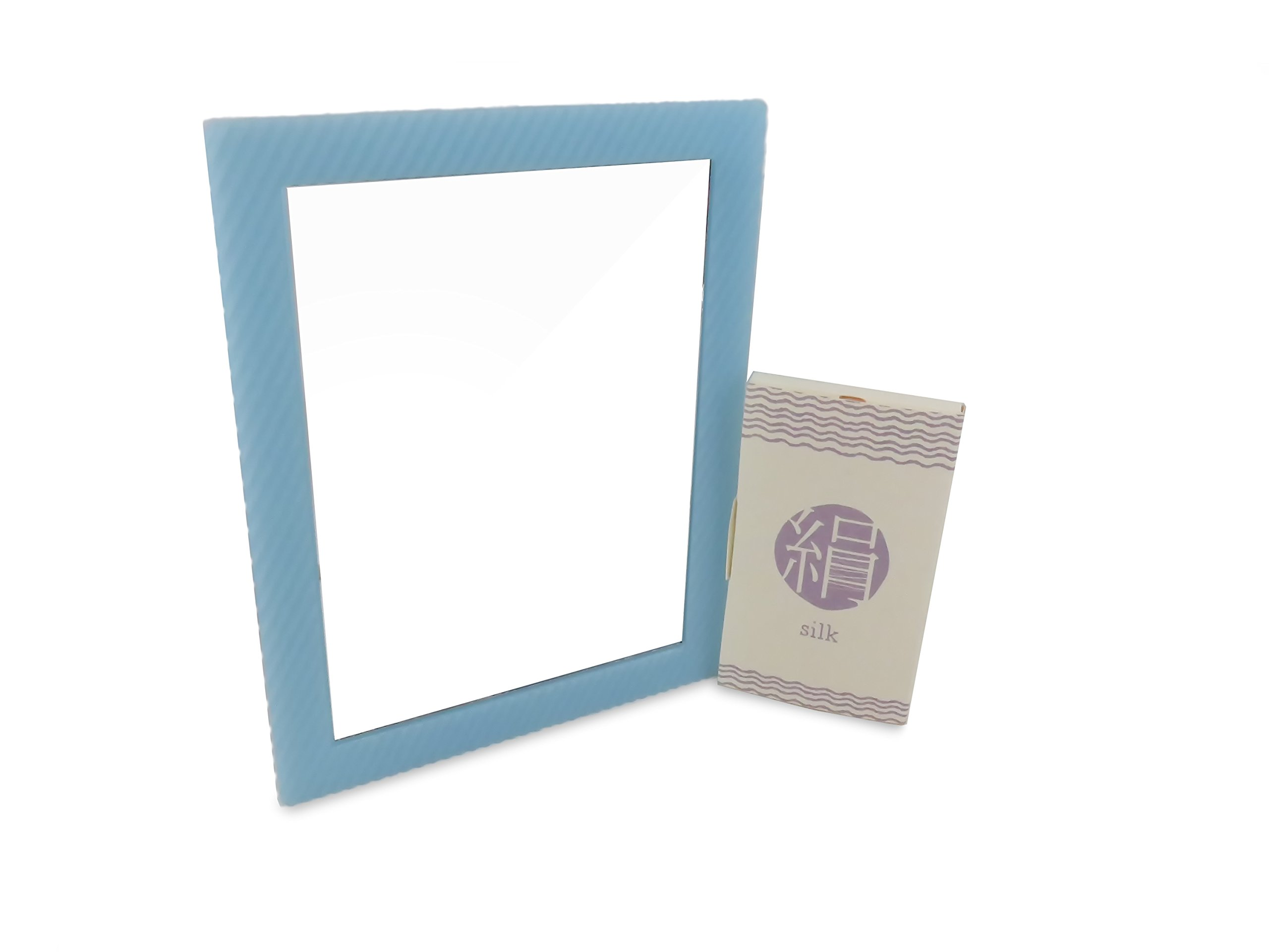 Locker Makeup Glass Mirror Rectangular Blue 6.25'' x 4.75'' Magnetic with Silk Blotting Absorbing Oil Paper 100 Sheets (2 Piece Set)