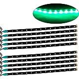 oEdRo 10x DC 12V Flexible Light Strip Bar Light 15 LED 30CM Green SMD Waterproof for Car Motor Boat Marine Trailer