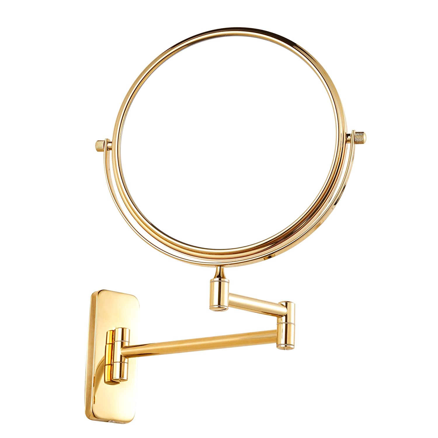GURUN 8 inch double-sided Wall Mount Makeup Mirror with 10x Magnification,Gold Finish M1406J 8in,10x