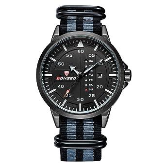estilo gran deporte de los hombres negros reloj de cuarzo reloj de recorrido al aire libre con la banda de nylon y visualización del día a día: Amazon.es: ...
