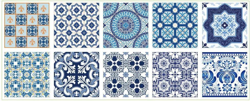 BESTINE Pegatinas Cuadradas Azulejos Cerámica 10 Piezas, Aceite Cocina para Baño Estilo Europeo a Prueba Agua Pequeña Decoración Floral Autoadhesivo Hazte Pegatina (B15,15 * 15cm)