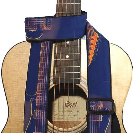 Correa para guitarra con guitarra silueta. Azul. Naranja. Para de ...