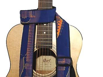 Correa para guitarra con guitarra silueta. Azul. Naranja. Para de accesorios para guitarra