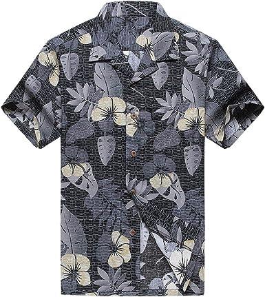 Hombres Aloha Camisa Hawaiana en Floral Blanco y Negro: Amazon.es: Ropa y accesorios