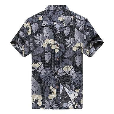 Männer Hawaiisches Hemd Aloha Hemd Schwarzweiss-Blumen: Amazon.de ...